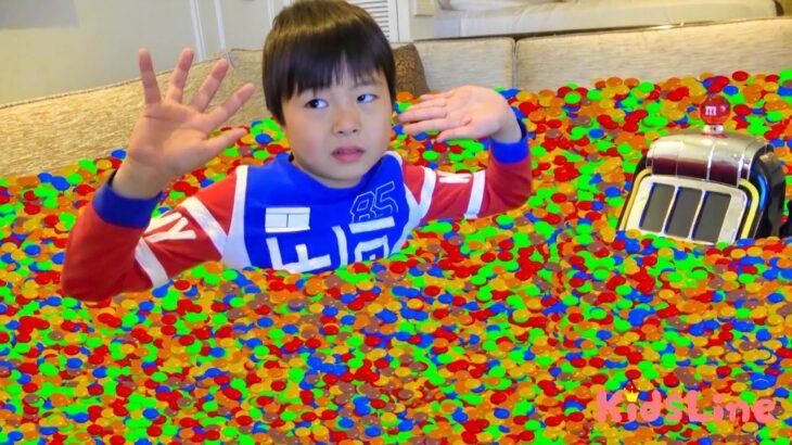 m&m チョコレート スロットマシン ママに隠された!宝探し こうくんねみちゃん orbiz ボールプールみたい