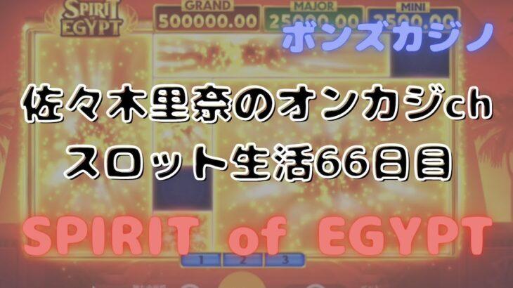 本日のスロット生活66日目はフリースピンよりボーナスゲームが激アツ!一撃50万円も!?【SPIRIT of EGYPT】で遊んでみました♪